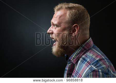 Shouting bearded man