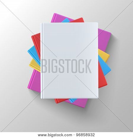 Stack of blank books, top view.