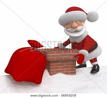 3D Santa Claus On A Roof