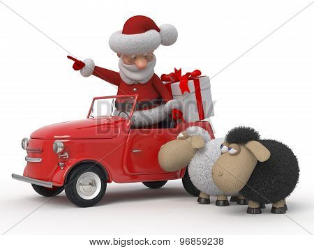 3D Santa Claus By Car With Sheep