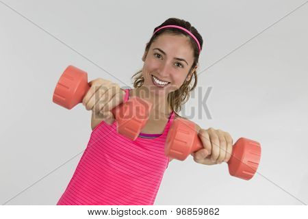 Fitness Woman Showing Dumbbells