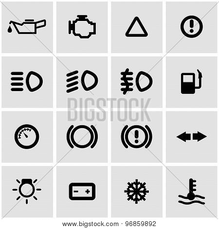 Vector Black Car Dashboard Icon Set