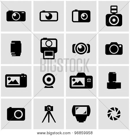 Vector Black Camera Icon Set