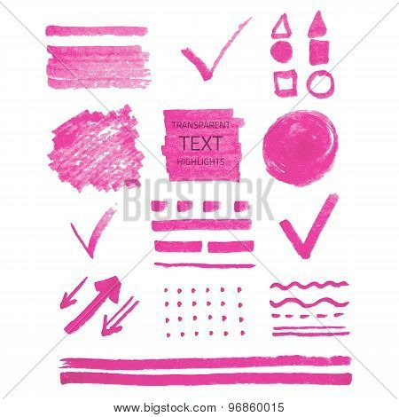Set Of Highlighter Marker Spots And Signs