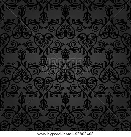 Damask Seamless Vector Dark Pattern