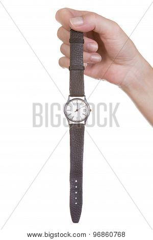 Female Hand Holding An Old Watch