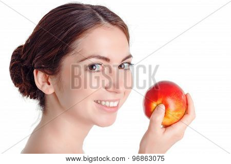 Pleasant young  girl apple