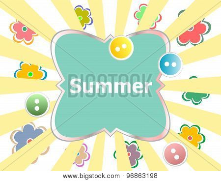 Summer Theme With Floral Over Bright Multicolored Background