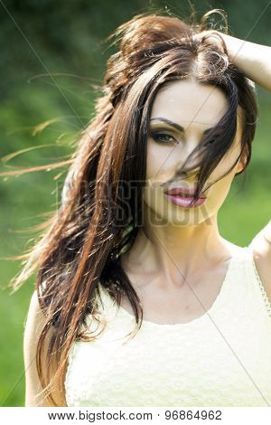 Portrait Of Brunette Woman Outdoor