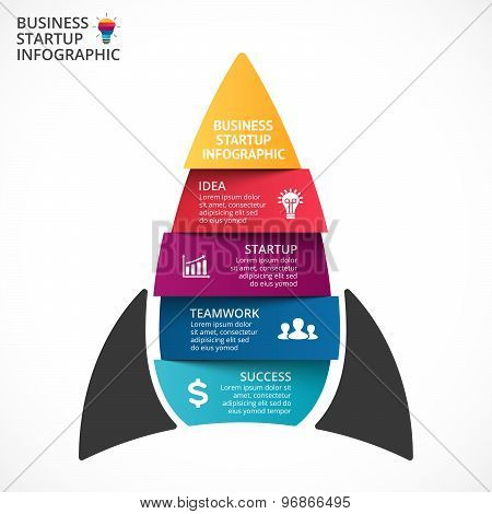 Vector spaceship infographic. Rocket template for growth diagram, graph, presentation and progress c