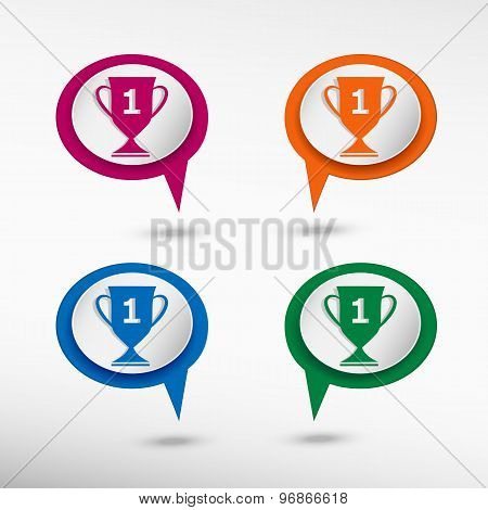 Champions Cup symbol on colorful chat speech bubbles