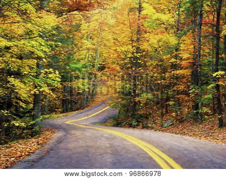Fine Art Print Of Autumn Road Through Pine Mountain State Park