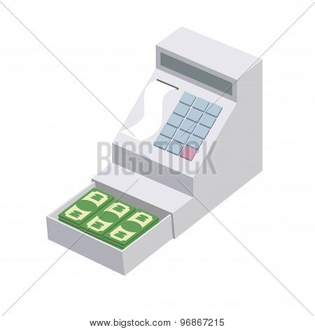 Cashier. Open A Cash Register With A Lot Of Dollars. Seller Box For Storing Money. Vector Illustrati