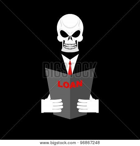 Death In Office Suit With A Loan. Your Personal Manager Is Death. Vector Illustration.