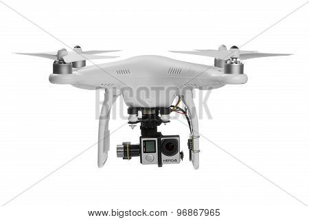 Varna, Bulgaria - May 28, 2015: Flying drone quadcopter
