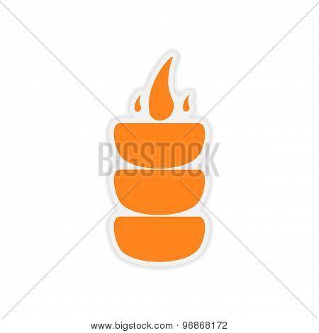 icon sticker realistic design on paper coals hookah