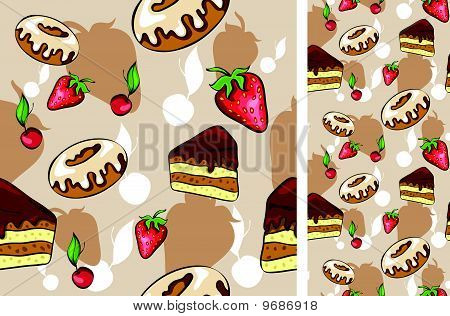 seamless background with desserts