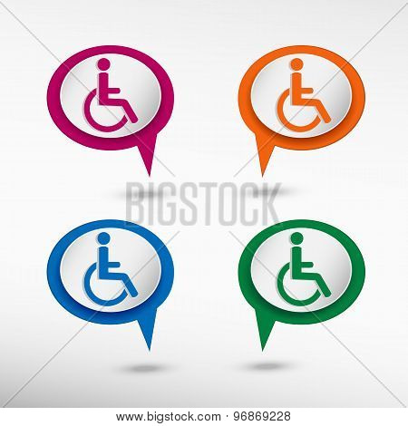 Disabled Handicap symbol on colorful chat speech bubbles