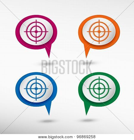 Vector target icon on colorful chat speech bubbles