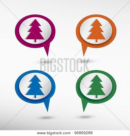 Spruce pine tree icon on colorful chat speech bubbles