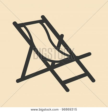 Flat in black and white mobile application deckchair
