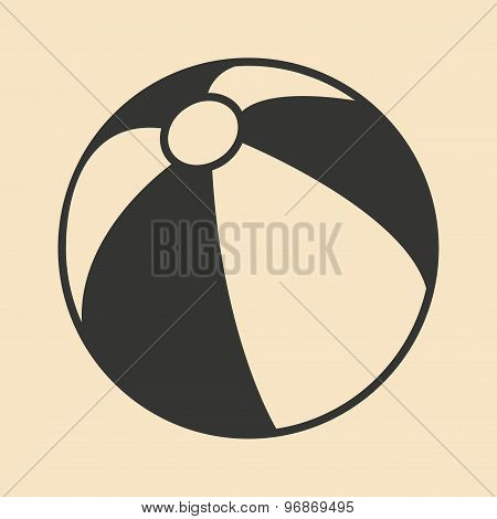 Flat in black and white mobile application beach ball