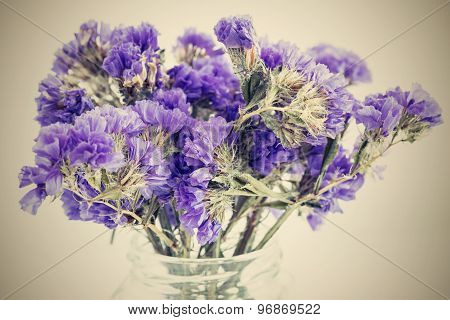 Dry Bouquet Small Violet Flowers With A Retro Effect