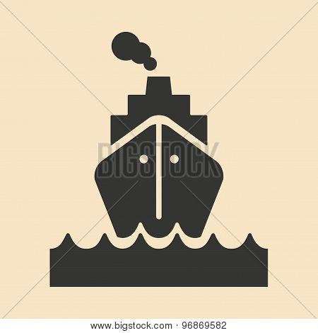 Flat in black and white mobile application motor ship