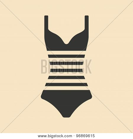 Flat in black and white mobile application swimsuit