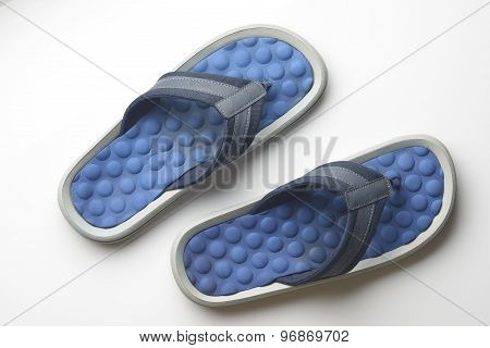 Blue Flipflop on White Background Shot In Studio.