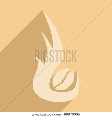 Flat with shadow icon and mobile application coffee roasting