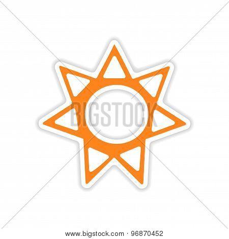 icon sticker realistic design on paper sun sign