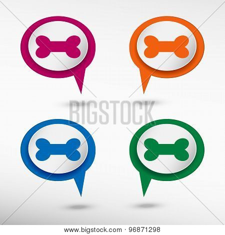Dog bone sign icon on colorful chat speech bubbles