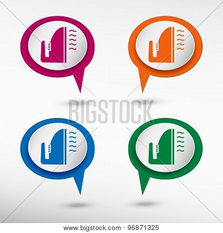Smoothing icon on colorful chat speech bubbles