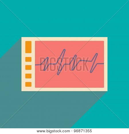 Flat with shadow icon and mobile applacation monitor cardiogram
