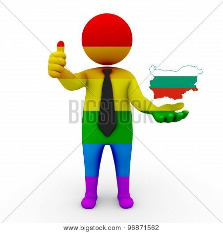 3d businessman people LGBT - with a map of the flag of Bulgaria