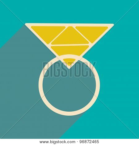 Flat with shadow icon and mobile applacation ring diamond