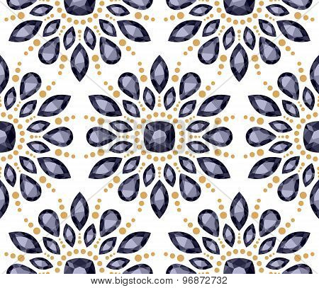 Colorful gemstones round rosettes seamless pattern.