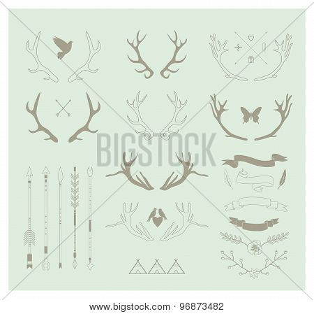 Antlers, Arrows, Ribbons. Idecor Elements. Isolated.