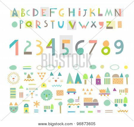 Fun And Cute Paper Cut Alphabet And Figures. Isolated.