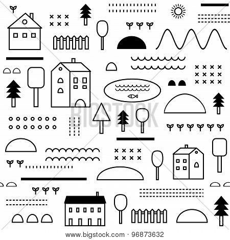 Eco Structure. Houses, threes, plants. Seamless Pattern