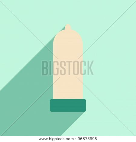 Flat with shadow icon and mobile application condom
