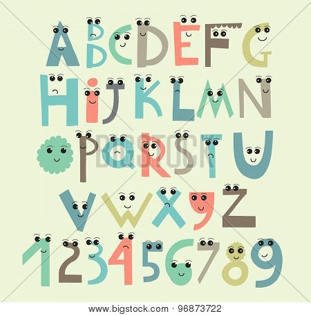 Funny And Cute Alphabet And Figures. Isolated.
