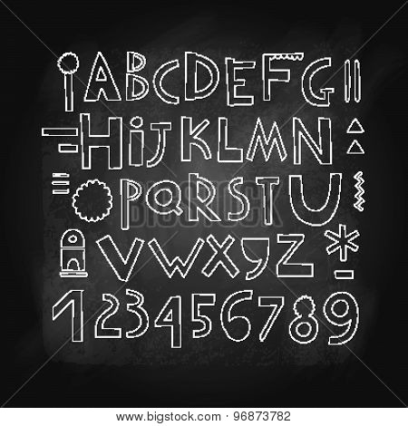 Cute Alphabet And Figures. Isolated On A Chalkboard.