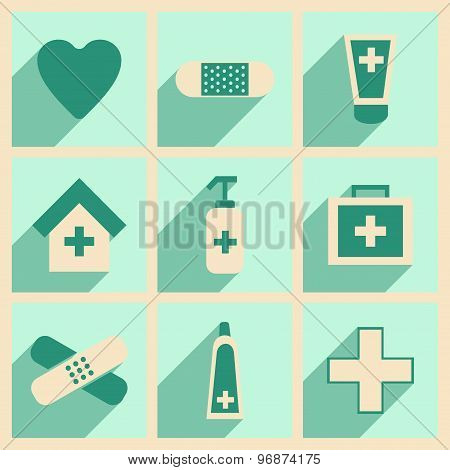 Flat with shadow concept and mobile application medical Care