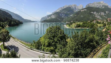 Panorama on Molveno lake