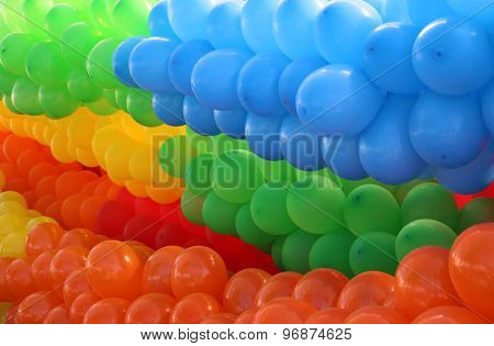 Colorful balloons  grouped by colors