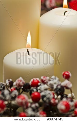 White Candles In Autumn Winter Decoration