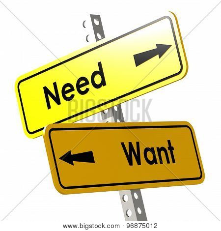 Need And Want With Yellow Road Sign