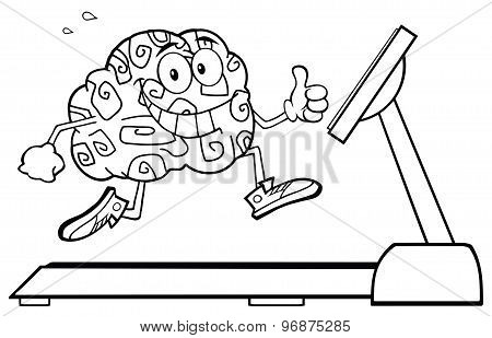 Back And White Healthy Brain Cartoon Character